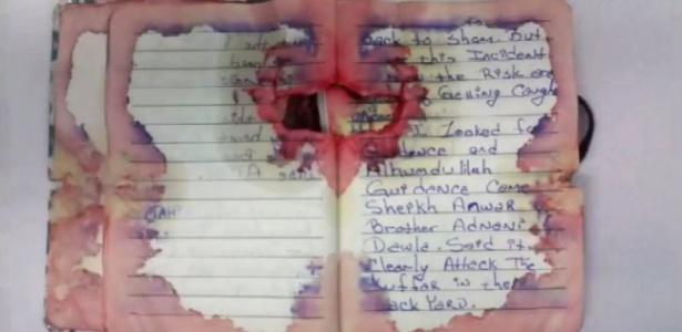 Trecho das anotações que teriam sido feitas por Ahmad Khan Rahami