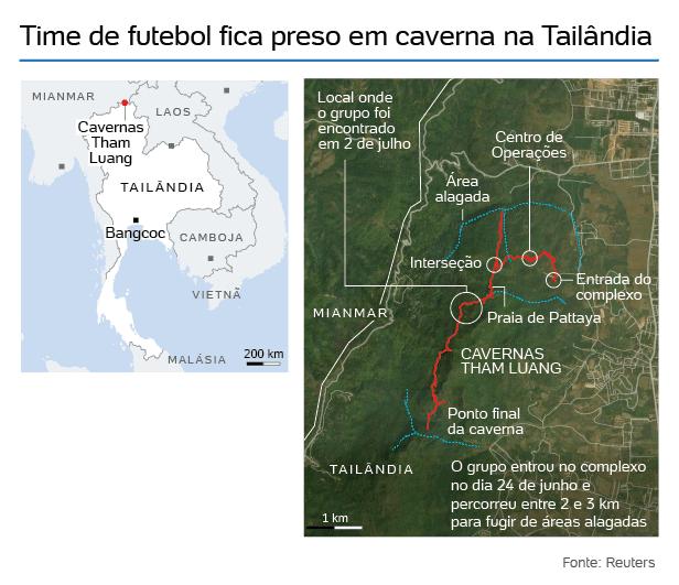 mapa-caverna-reuters-1530718767634_616x531 Mergulhador morre em operação de resgate de garotos presos em caverna na Tailândia