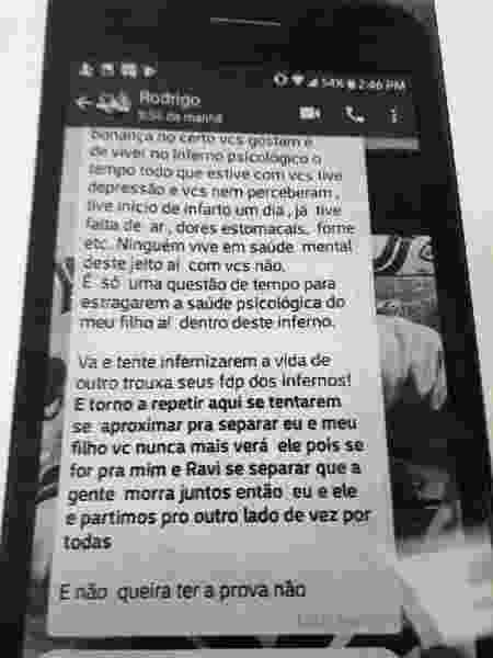 Mensagem enviada por Rodrigo Pinho para ameaçar ex-mulher - Divulgação/Polícia Civil de SP