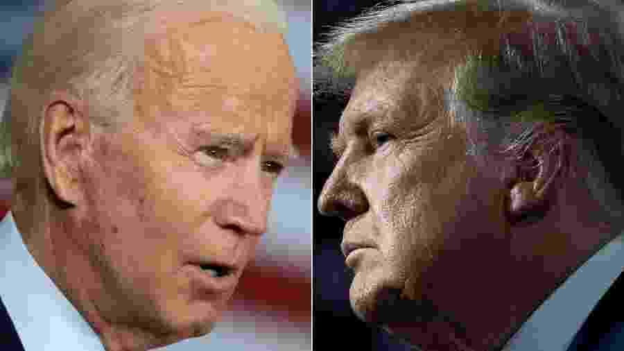 O democrata Joe Biden e o republicano Donald Trump, adversários nas eleições de 2020 nos EUA - Jim Watson e Brendan Smialowski/AFP
