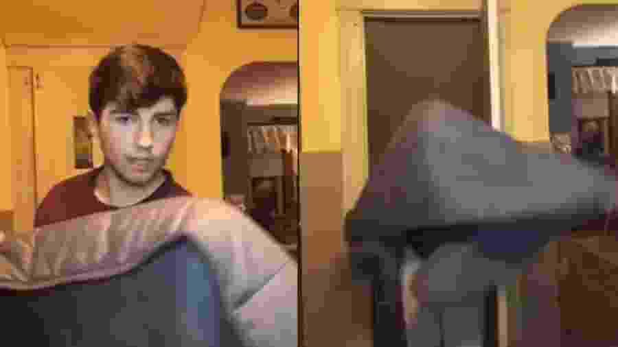 """Corey, de 24 anos, faz o """"desafio do cobertor pesado"""", que viralizou no Tik Tok  - Reprodução/@coreythebagel/TikTok"""