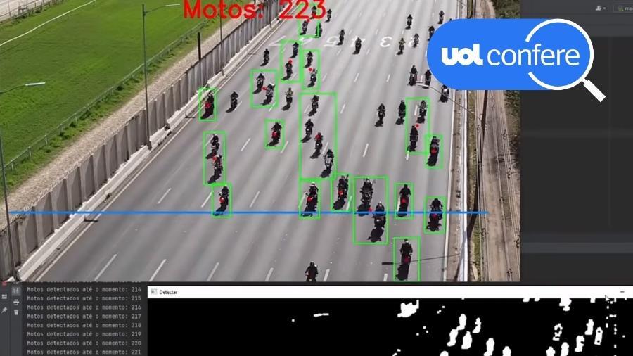 """18.jun.2021 - Vídeo mostra contagem de motos participantes de """"motociata"""" com o presidente Jair Bolsonaro em São Paulo - Reprodução/Canal Análise de Vídeos"""