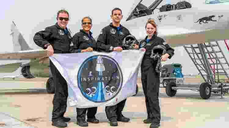 Inspiration4 da SpaceX: membros da missão Chris Sembroski, Sian Proctor, Jared Isaacman e Hayley Arceneaux (da esq. para dir.) - Inspiration4/John Kraus - Inspiration4/John Kraus
