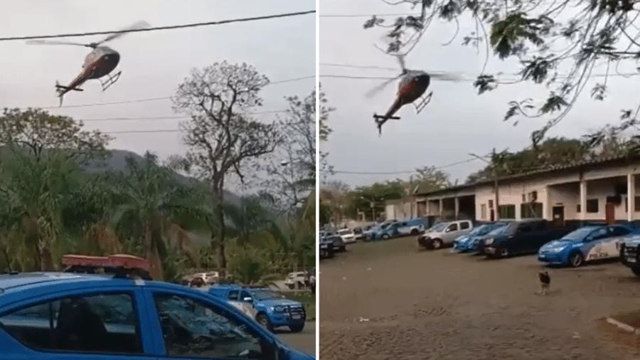 Helicóptero foi gravado fazendo manobras perigosas no RJ; piloto alega que, no momento, entrava em luta corporal com sequestradores - Reprodução de vídeo