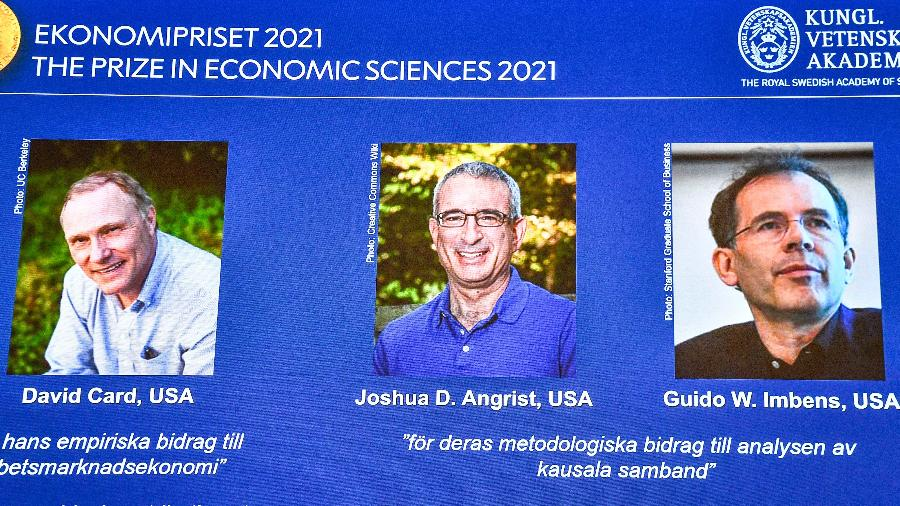 David Card,  Joshua D. Angrist e Guido W. Imbens, vencedores do Nobel de Economia de 2021 - Claudio Bresciani/TT News Agency/AFP
