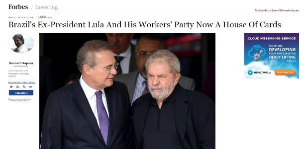 """Reportagem da revista norte-americana Forbes compara a situação política do Brasil a um """"castelo de cartas"""". Em inglês, a expressão usada foi """"house of cards"""""""