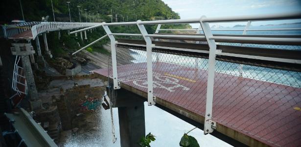 Trecho da ciclovia Tim Maia, em São Conrado, que desabou em abril