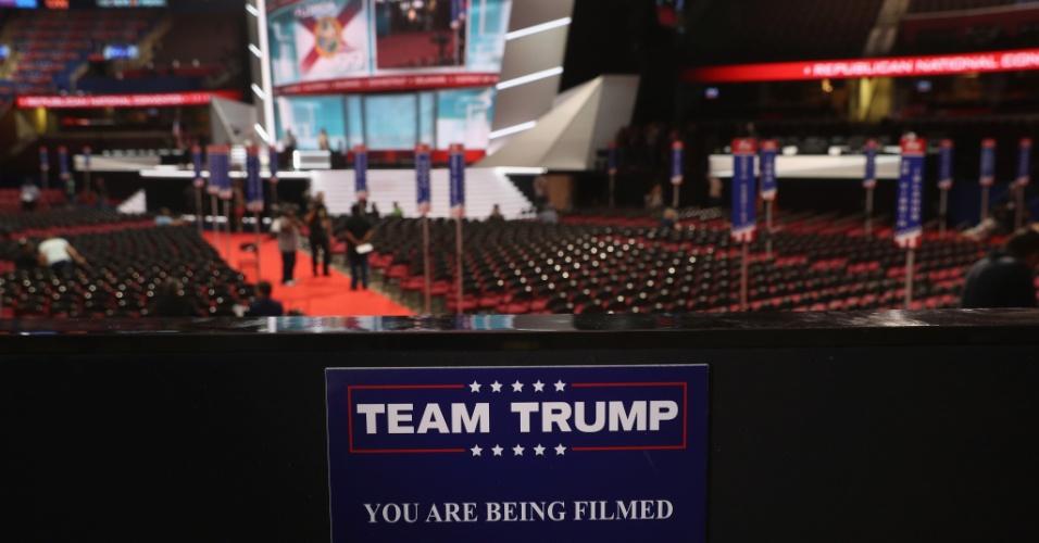 17.jul.2016 - Placa sinaliza o local em que os convidados do candidato republicado Donald Trump ficarão durante a convenção do Partido Republicano, que começa na cidade de Cleveland nesta segunda-feira. O evento ratifica a candidatura de Trump na disputa pela Casa Branca