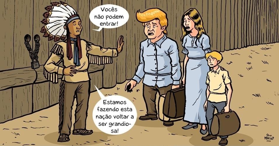 16.nov.2016 - E se fosse assim? Para reconstruir a nação, indígenas nativos do território dos EUA criam muro e barram europeus imigrantes