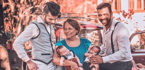 Gustavo Salles, Ana Maria Aranha, Luis Henrique Aranha e os bebês gêmeos Pedro Henrique e João Lucas