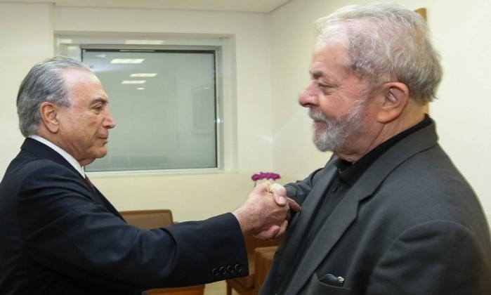 2.fev.2017 - Presidente Michel Temer visita o ex-presidente Luiz Inácio Lula da Silva no Hospital Sírio-Libanês