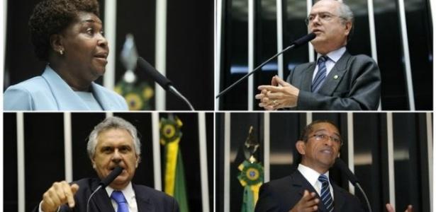 Benedita da Silva (PT-RJ), Alfredo Kaefer (PSL-PR.), Ronaldo Caiado (DEM-GO) e Vicentinho (PT-SP) em discursos em plenário: estudo analisou teor de mais de 120 mil intervenções