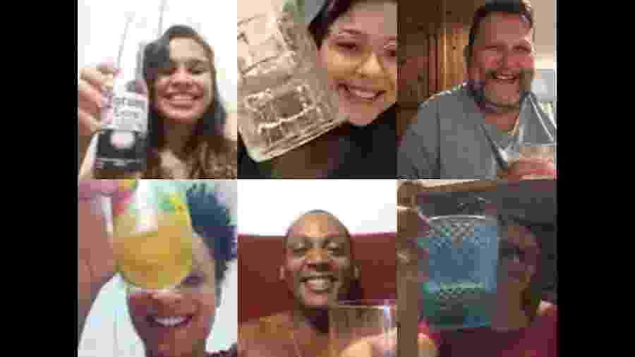Daniel Cerqueira (no topo direito) organiza boteco virtual com amigos - Arquivo pessoal