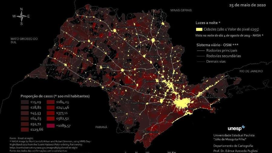 Mapa elaborado pela Unesp sobrepõe as rotas de disseminação da covid-19 a uma imagem noturna do Estado de São Paulo - Edmur Pugliesi e Raul Guimarães/Unesp/Nasa