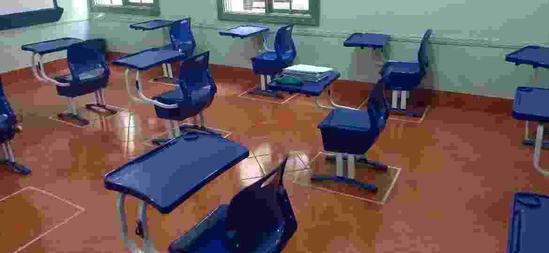 Sala de aula no colégio Cidade de Itu, no interior de São Paulo; escolas foram autorizadas a reabrir para atividades de apoio e orientação - Alex Tajra/ UOL