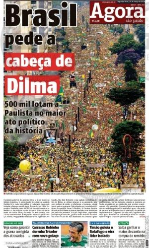 SP: Capa do jornal Agora São Paulo de 14 de março de 2016