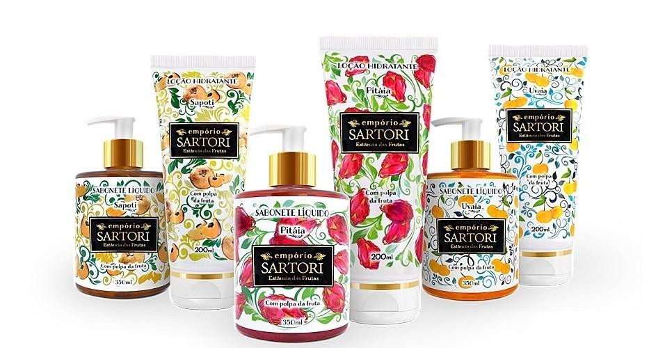 Linha de produtos feitos pela Empório Sartori, fabricante de cosméticos com polpa de frutas raras