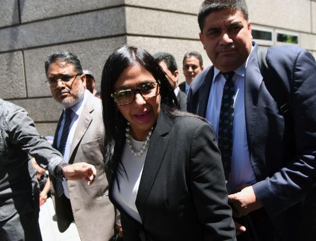 Ministra das Relações Exteriores da Venezuela, Delcy Rodríguez, na chegada à Argentina