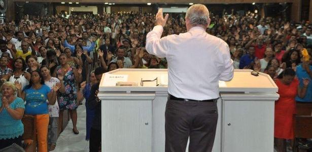 Culto em março da Igreja do Evangelho Quadrangular, em Maceió, reduto eleitoral do pastor João Luiz (PSC-AL), que foi afastado pelo TSE