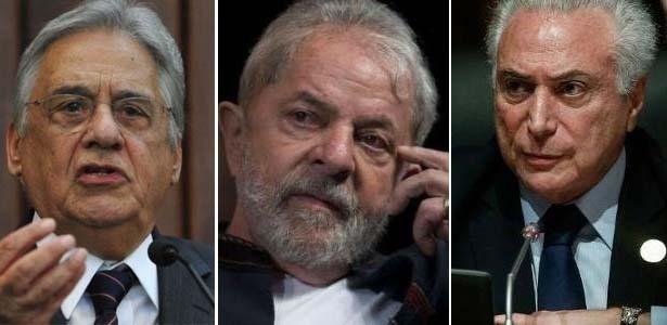 Os ex-presidentes FHC e Lula e o atual presidente, Michel Temer: dificuldade para convencer eleitorado a votar em seus apoiados