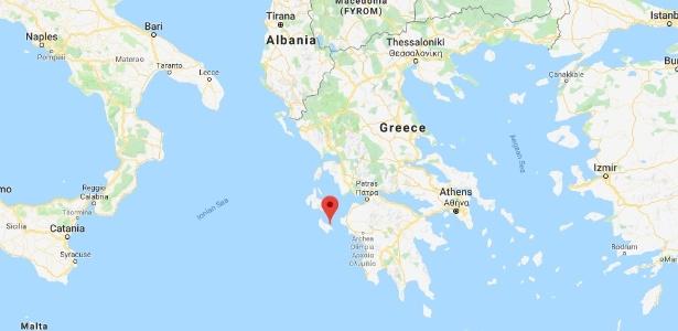 Apontada no mapa, a ilha de Zakynthos, onde o trerremoto desta quinta-feira foi sentido - Reprodução/Google Maps