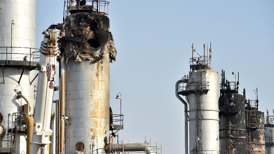 20.set.2019 - Instalação de petróleo na Arábia Saudita destruída após ataque em setembro - Fayez Nureldine / AFP