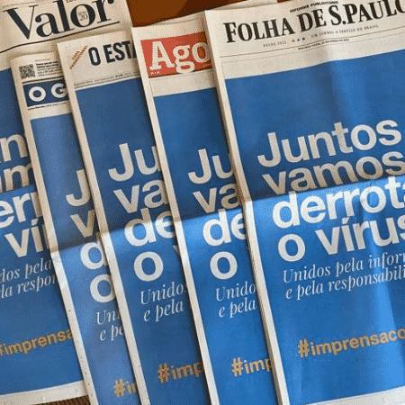 Jornais brasileiros unificam capas em combate ao coronavírus - Reprodução