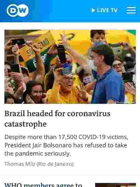 Surto no Brasil aprofunda imagem negativa do governo pelo mundo - Reprodução