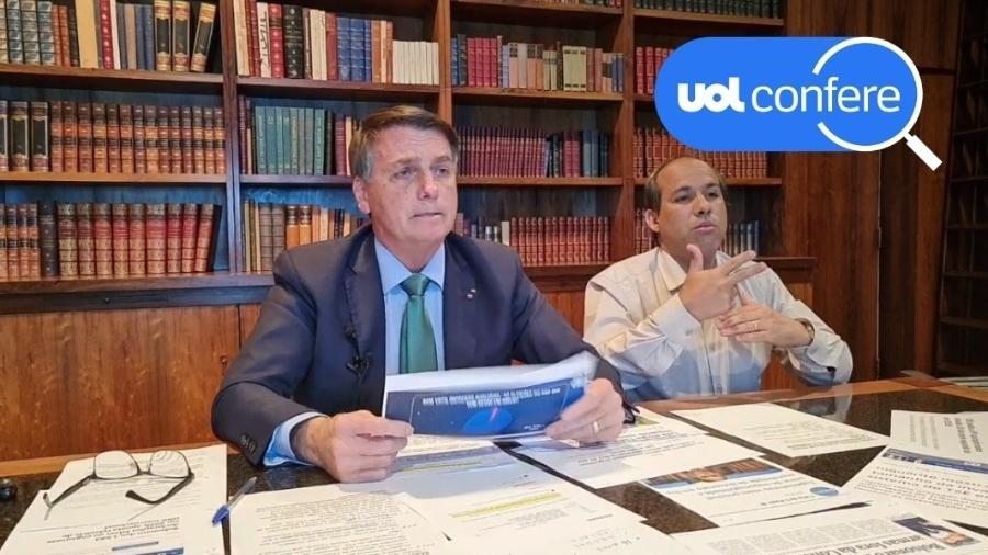 5.ago.2021 - O presidente Jair Bolsonaro (sem partido) em sua live semanal - Arte sobre Reprodução/YouTube Jair Bolsonaro