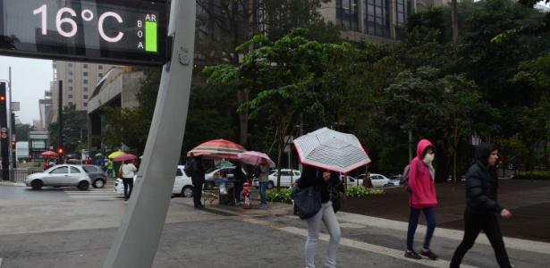 Termômetro marca 16ºC na manhã desta quarta na Avenida Paulista