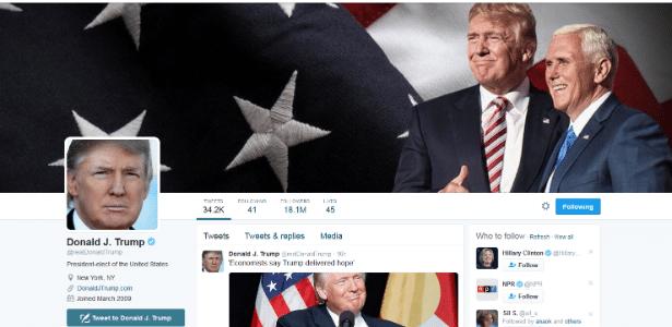 Perfil de Donald Trump no Twitter