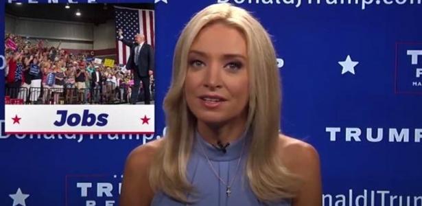 Kayleigh McEnany deixou a CCN no sábado e, um dia depois, apareceu apresentando o programa de Trump