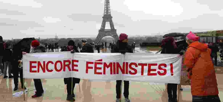 Mulheres protestam por direitos em Paris - Jacques Demarthon/AFP