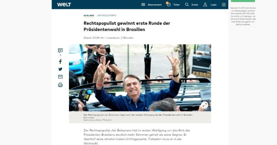 """Die Welt (Alemanha): """"Populista de direita vence primeiro turno das eleições presidenciais no Brasil"""""""