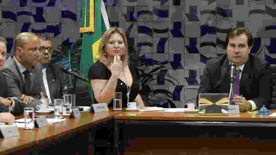 21.maio.2019 - O presidente da Câmara, Rodrigo Maia (dir.) e o deputado Major Vitor Hugo (canto esquerdo), líder do PSL na Câmara, bateram boca durante reunião de líderes de partido - Dida Sampaio/Estadão Conteúdo