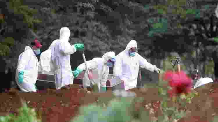 Funcionários do serviço funerário enterram corpo de uma vítima do novo coronavírus no cemitério da Vila Formosa, em São Paulo - Fernando Bizerra/EFE