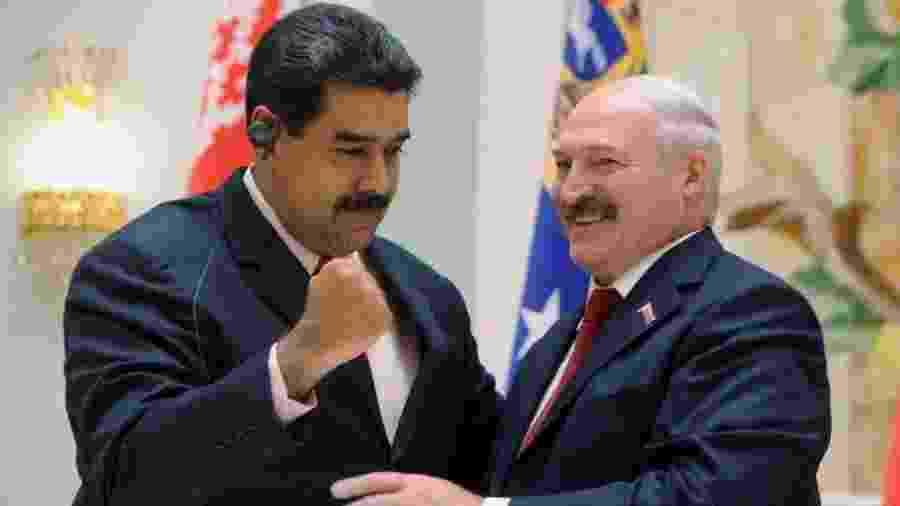 Nicolás Maduro e Aleksandr Lukashenko fazem parte, em seus respectivos países, de delicadas disputas de poder - AFP