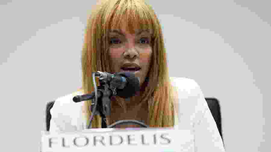 """A deputada federal Flordelis (PSD-RJ) durante o seminário """"O Instituto da Adoção no Brasil"""", em maio de 2019 - Cláudio Andrade/Câmara dos Deputados"""