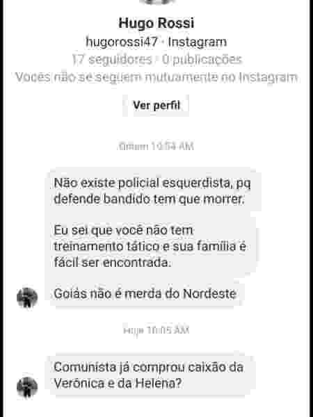 Suspeito criou um perfil no Instagram com o nome falso de Hugo Rossi para enviar ameaças a Delegada Adriana Accorsi, candidata do PT derrotada na disputa à Prefeitura de Goiânia - Reprodução