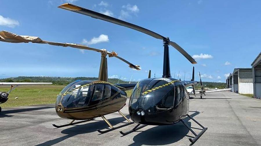 Helicópteros do PCC apreendidos na operação Além-Mar, em agosto de 2020. Facção criminosa já operou frota superior à das forças de segurança paulistas - Divulgação
