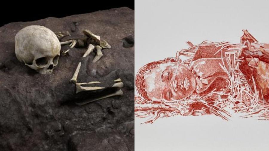 Ossos de criança deitada com cabeça em travesseiro foram encontrados em uma caverna no leste do Quênia - Jorge Gonzales/Elena Santos/Fernando Fueyo/Divulgação