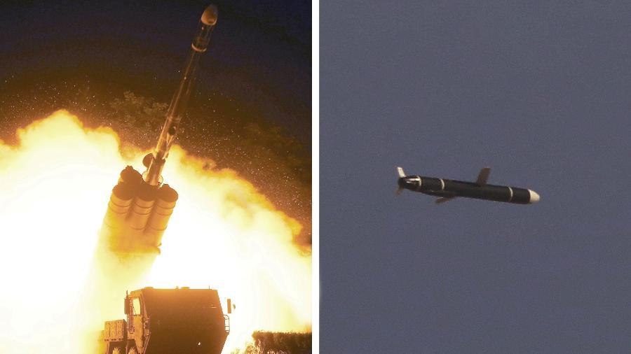 Testes de mísseis de cruzeiro de longo alcance na Coreia do Norte, conforme retratado nesta combinação de fotos sem data fornecidas pela Agência Central de Notícias da Coreia do Norte (KCNA) em 13 de setembro de 2021 - KCNA via REUTERS