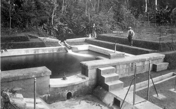 Represa do antigo sistema Cantareira, uma das primeiras fontes de abastecimento da cidade, no fim do século 19