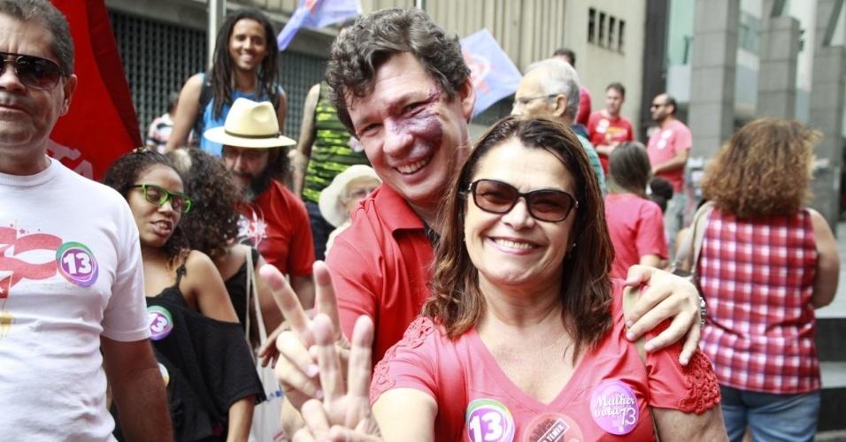 1.out.2016 - Candidato à prefeitura de Belo Horizonte, Reginaldo Lopes (PT) esteve na Praça Sete de Setembro para seu último ato da campanha