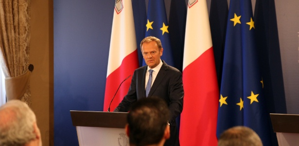 O presidente do Conselho Europeu, Donald Tusk, dá entrevista coletiva em La Valeta, Malta - Yuan Yun/Xinhua