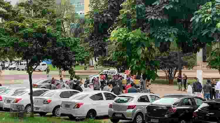 Concentração de motoristas da Uber na Vale do Anhangabaú (SP), durante paralisação - Bruna Souza Cruz/UOL