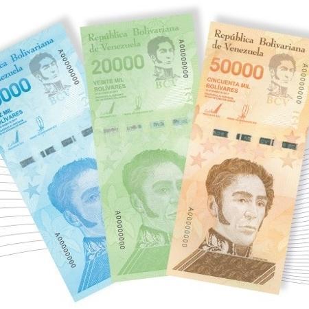 Novas notas que começam a circular na quinta (13) na Venezuela - Banco Central da Venezuela/Divulgação