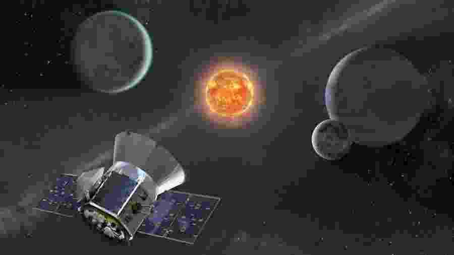 Ilustração do satélite Tess em busca de exoplanetas no espaço; missão deve ir pelo menos até 2022 - AFP PHOTO/NASA/HANDOUT