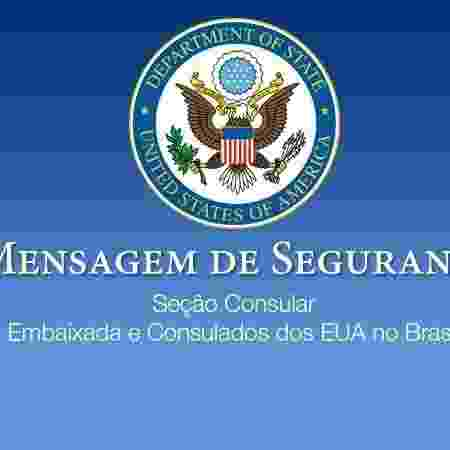 Mensagem da embaixada dos EUA no Brasil por conta das tensões no Oriente Médio - Reprodução