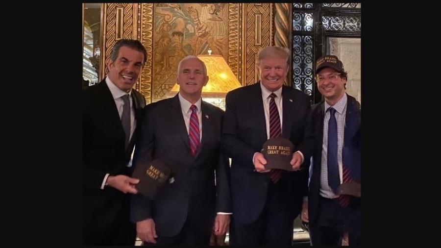 Fabio Wajngarten ao lado do presidente dos EUA, Donald Trump - Reprodução